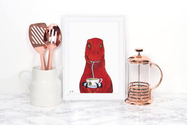 Watercolor Dinosaur Art Print, Tea Rex Art Print, Dinosaur Kitchen Art, Dinosaur Print, Dinosaur Wall Art, Dinosaur Decor, Dinosaur Painting