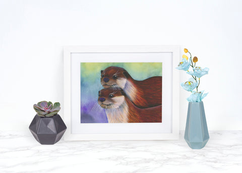 River Otter Print, Whimsical Animal Art Print, Watercolor Painting, Otter Art Print, Otter Wall Art, Wildlife Art Print