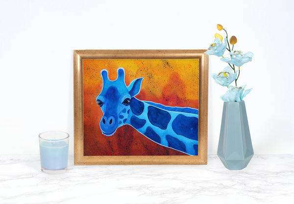 Blue Giraffe Print, Giraffe Art Print, Giraffe Painting, Whimsical Animal Art Print, Whimsical Art Print Watercolor Painting, Giraffe Gifts