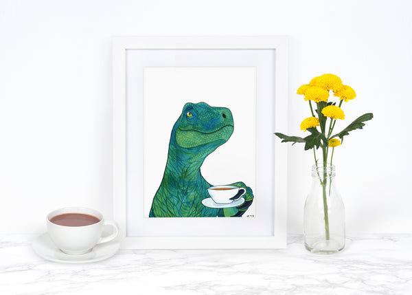 Watercolor Dinosaur Painting Dinosaur Art Print Velociraptor Art Dinosaur Decor Dinosaur Kitchen Art Print Dinosaur Lover Gift Tea Art Print