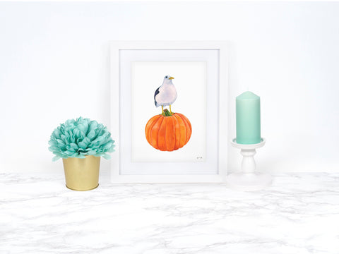 Pumpkin Decor Beach Decor Fall Decor Kitchen Decor Kitchen Wall Art Watercolor Pumpkin Art Print Watercolor Pumpkin Painting Seagull Art