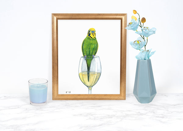 Watercolor Budgie Painting, Watercolor Parakeet Painting, Whimsical Animal Art Print, Whimsical Art Print, Kitchen Decor, Kitchen Wall Art