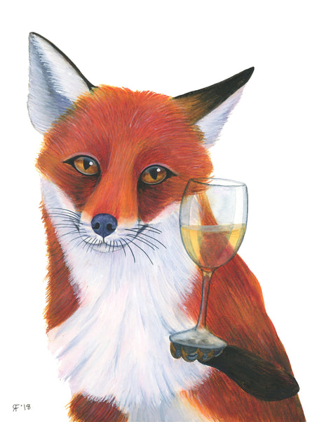 Watercolor Fox Art Print, Fox Painting, Whimsical Animal Art Print, Wine Art Print, Whimsical Art Print, Kitchen Wall Art, Kitchen Decor