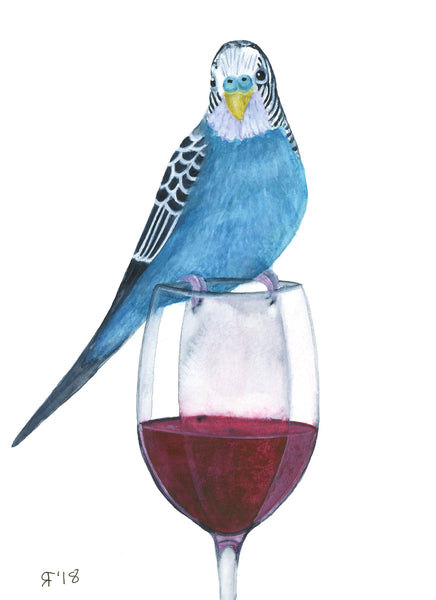 Watercolor Budgie Painting Original Watercolor Painting Parakeet Painting Kitchen Decor Kitchen Wall Art Wine Lover Gift Original Painting