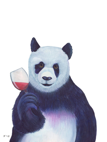 Watercolor Panda Art Print Panda Gifts Wine Lover Gift Red Wine Art Print Kitchen Wall Art Kitchen Decor Best Friend Gift For Her