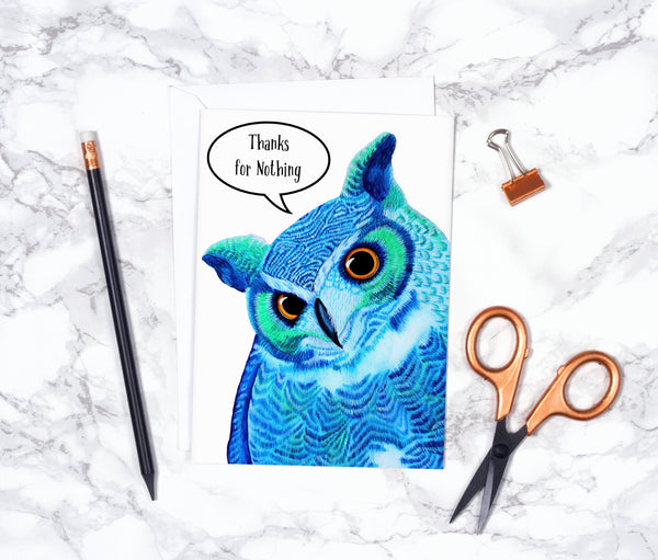 Watercolor Owl Card Funny Thank You Card Funny Thank You Card Set Best Friend Card Funny Card Thank You Card Pack