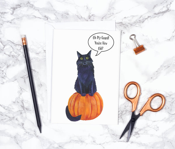 Black Cat Happy Birthday Card Funny Birthday Card Funny Animal Birthday Card Old Cute Birthday Card Friend Pumpkin Birthday Card
