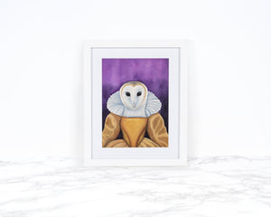 Watercolor Barn Owl Art Print, Anthropomorphic Art, Animals in Clothes, Animals in Suits, Whimsical Art Print, Whimsical Animal Art Print