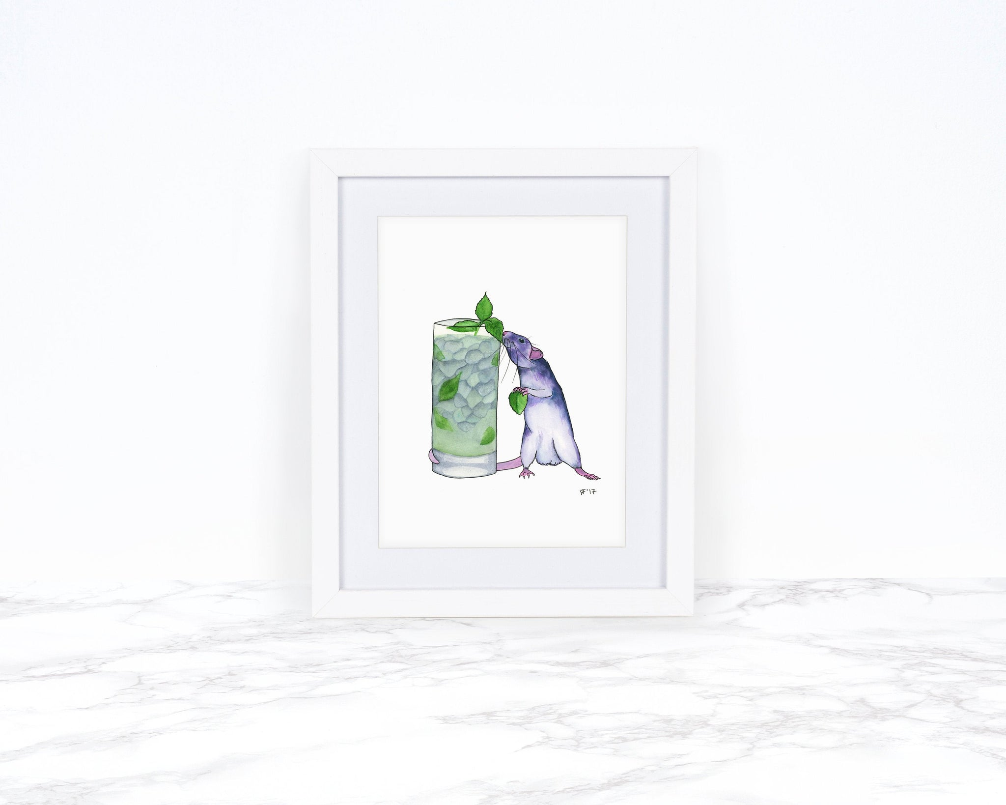 Pet Rat Art Print with Mojito, Whimsical Art print, Whimsical Animal Art Print, Watercolor Painting, Kitchen Wall Art, Kitchen Art Print