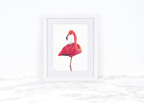 Watercolor Flamingo Decor Tea Lover Gift Whimsical Animal Art Print Whimsical Art Print Watercolor Painting Kitchen Decor Flamingo Art Print