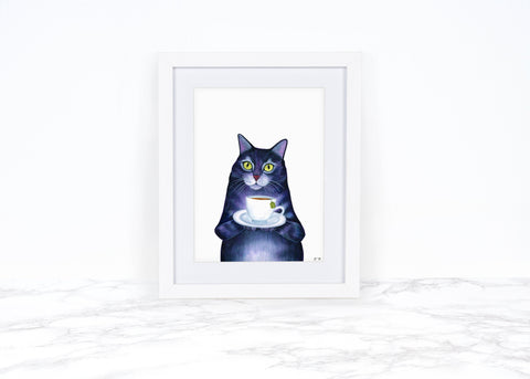 Watercolor Cat Painting, Whimsical Animal Art Print, Cat Lover Gift, Whimsical Art Print, Anthropomorphic Cat Ar Print, Kitchen Wall Art
