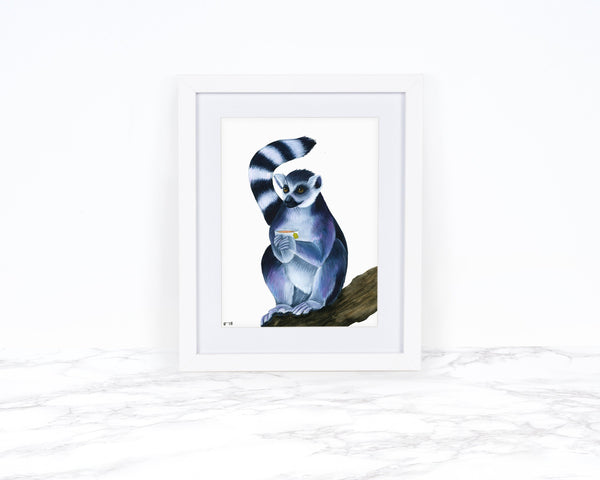 Watercolor Lemur Painting, Kitchen Wall Decor, Whimsical Art Print Watercolor Painting, Whimsical Wall Art, Tea Art Print, Funny Kitchen Art
