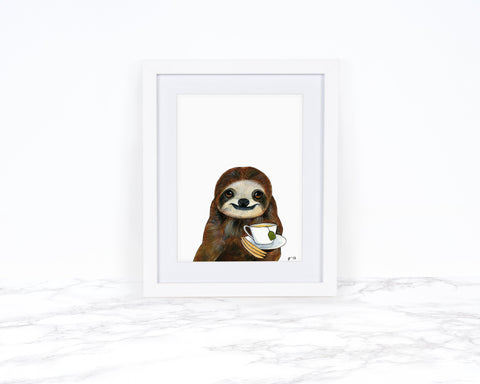 Watercolor Sloth Painting Animal Prints Tea Lover Gift Whimsical Animal Art Kitchen Wall Art Kitchen Decor Sloth Nursery Art Dapper Animals