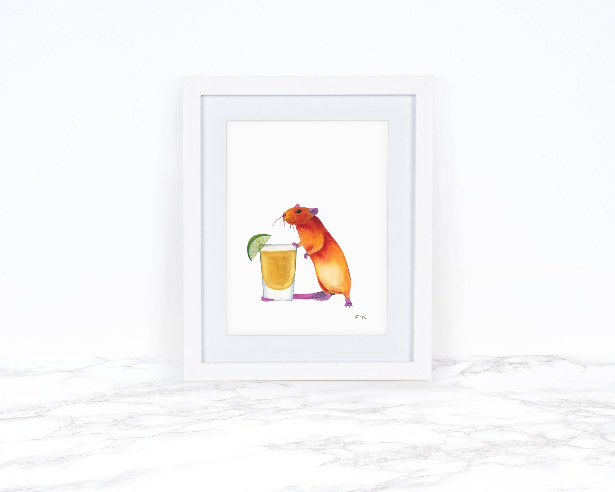 Pet Rat Art Print, Whimsical Art Print, Kitchen Wall Art, Kitchen Art Print, Whimsical Animal Art Print, Watercolor Painting, Tequila Art