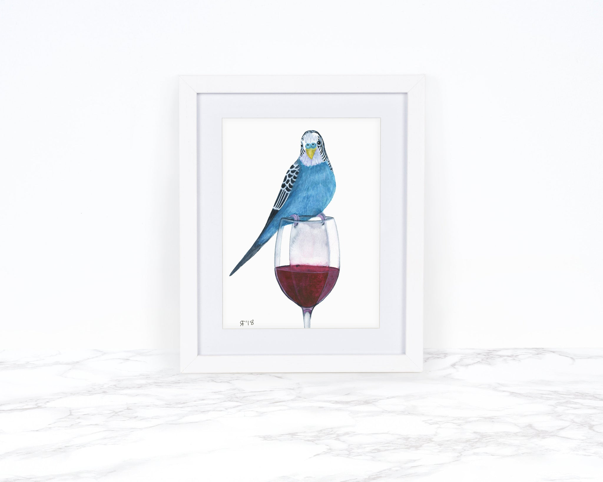 Watercolor Budgie Painting, Whimsical Animal Art Print, Wine Lover Gift,  Kitchen Wall Art, Kitchen Decor, Watercolor Parakeet Painting