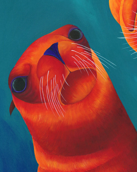 Sea Lion Art Print, Sea Lion Painting, Coastal Wall Art, Sea Animal Decor, Beach Decor, Whimsical Animal Art Print, Whimsical Art Print