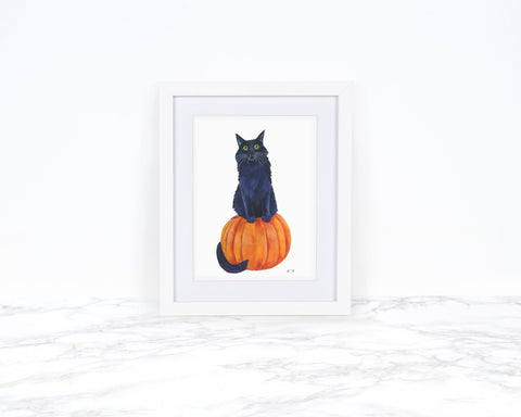 Black Cat Art Print, Pumpkin Decor, Fall Decor, Cat Lover Gift, Kitchen Decor, Black Cat Decor, Animal Art Prints