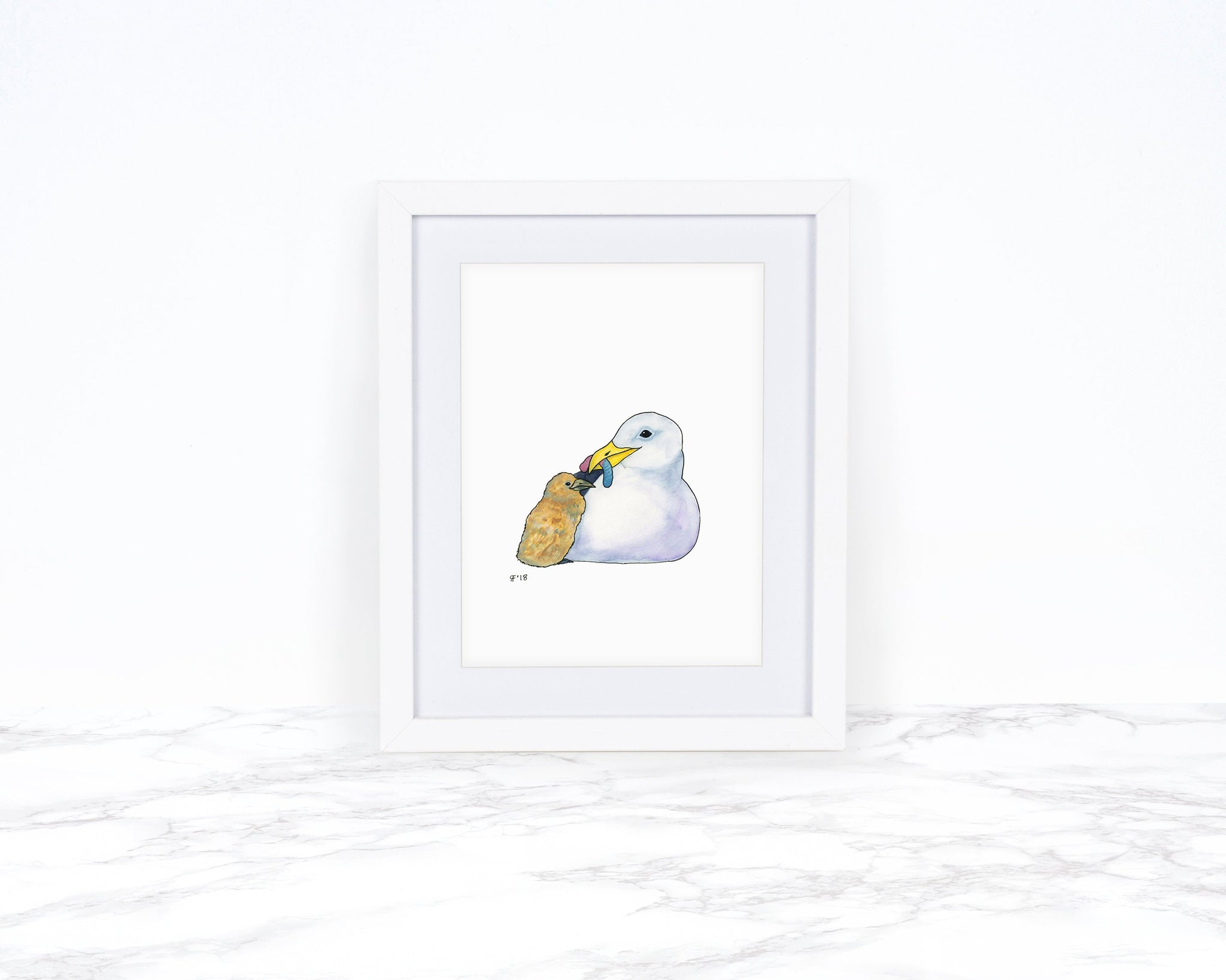Seagull Art Print With Gummy Worm, Coastal Wall Art, Beach Decor, Kitchen Decor, Whimsical Art Print, Whimsical Animal Art Print,