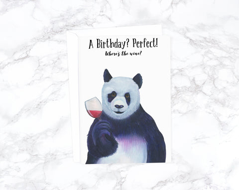 Wine Birthday Card, Panda Birthday Card Birthday Card Friend Funny Birthday Card Boyfriend Birthday Husband Birthday Card Rude Birthday Card