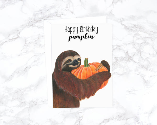 Funny Birthday Card Funny Animal Birthday Card Old Cute Birthday Card Friend Watercolor Birthday Card For Girlfriend Pumpkin Birthday Card