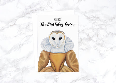 Birthday Queen Card Funny Birthday Card Cute Birthday Card Friend Watercolor Birthday Card For Girlfriend Gift Owl Birthday Card