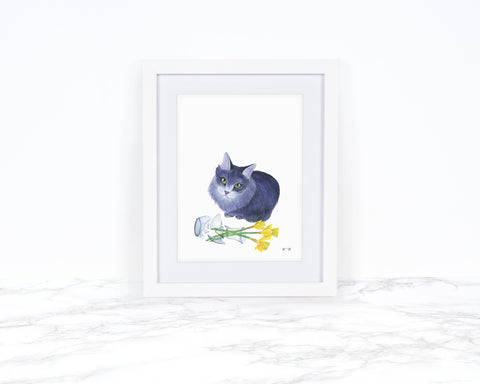 Cat Lover Gift Cat Painting Watercolor Painting Kitchen Wall Decor Funny Animal Art Funny Art Print Cat Wall Art Whimsical Animal Art