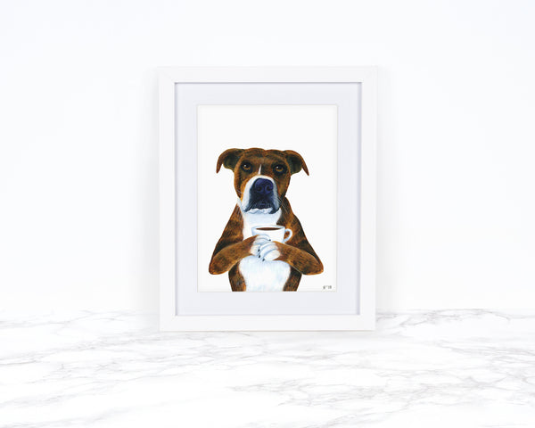 Watercolor Dog Art Print, Whimsical Animal Art Print, Whimsical Art Print Watercolor, Dog Lover Gift, Funny Animal Art, Pit Bull Art Print