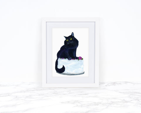 Watercolor Cat Painting, Black Cat Art, Whimscical Art Print, Cat Lover Gift, Kitchen Decor, Whimsical Animal Art Print, Kitchen Wall Art