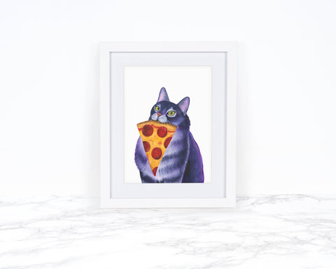 Watercolor Cat Painting, Whimscical Art Print, Cat Lover Gift, Kitchen Decor, Whimsical Animal Art Print, Cat Art Print, Kitchen Wall Art