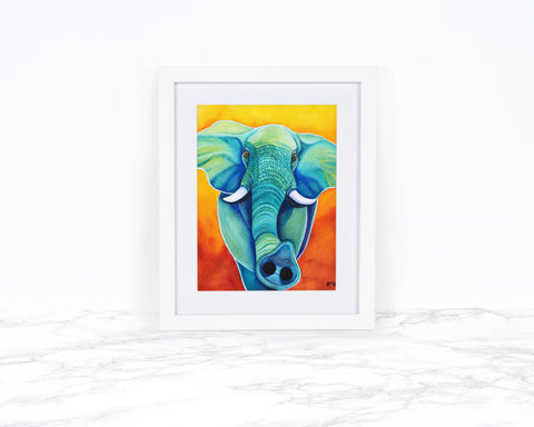 Elephant Painting, Elephant Decor, Elephant Gifts, Whimsical Animal Art Print, Animal Art Print Watercolor Painting, Whimsical Animal Print