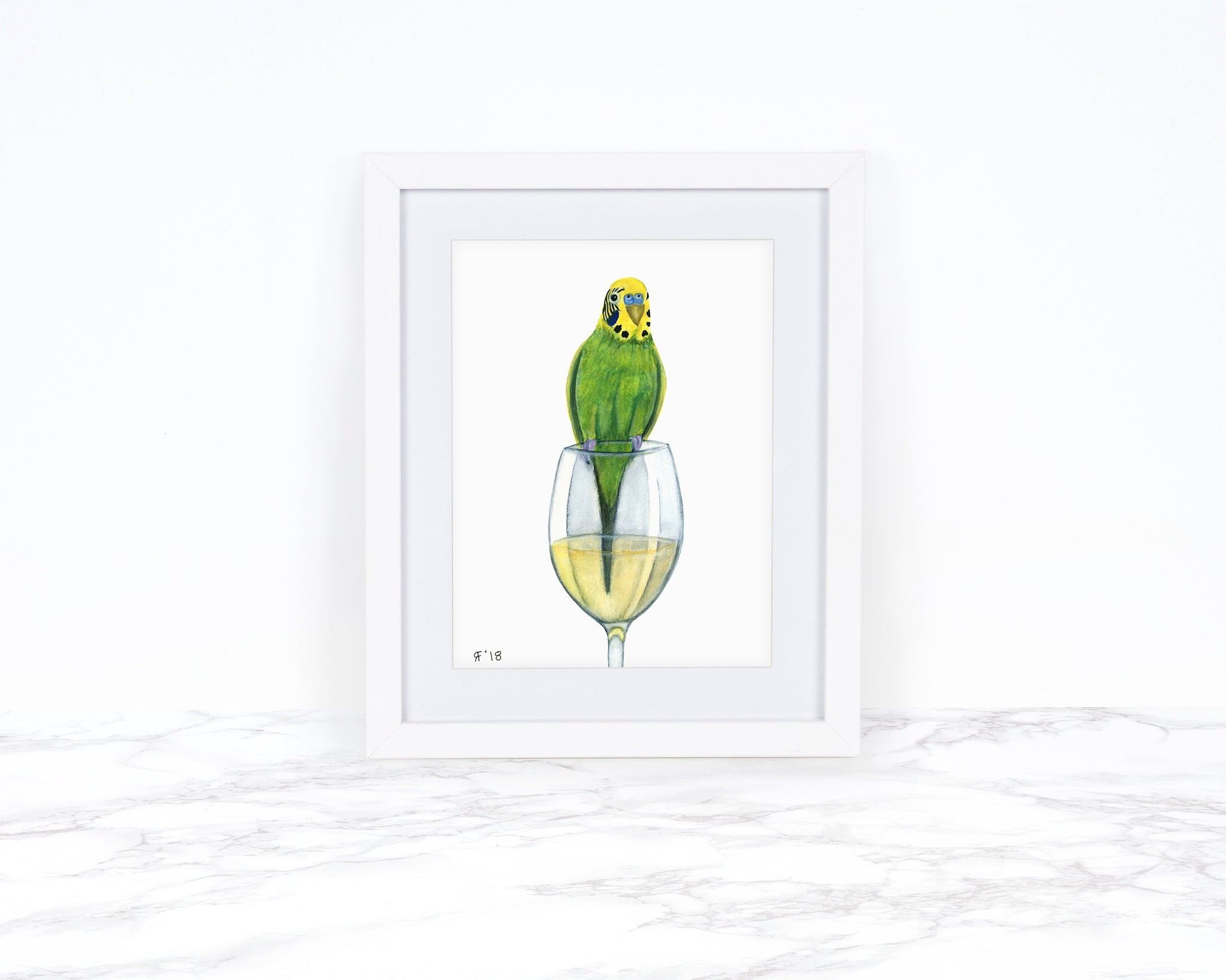 Watercolor Budgie Painting, Original Watercolor Painting, Parakeet Painting Kitchen Decor Kitchen Wall Art Wine Lover Gift Original Painting