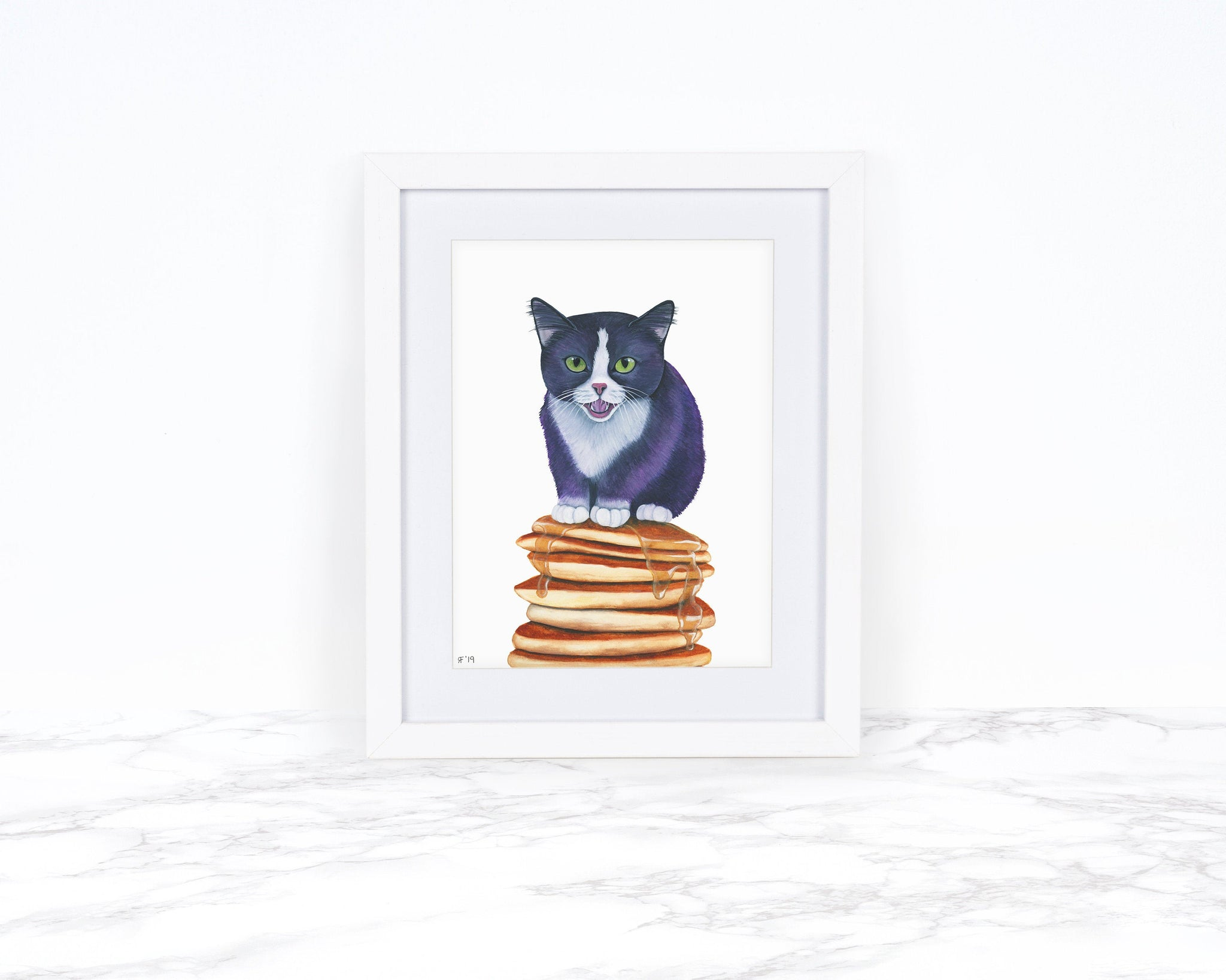 Watercolor Cat Painting, Whimscical Art Print, Food Art Print, Kitchen Decor, Whimsical Animal Art Print, Cat Art Print, Kitchen Wall Art