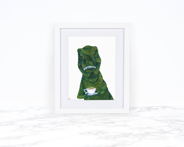 Watercolor Dinosaur Art Print, Tea Rex Art Print, Dinosaur Kitchen Art, T Rex Painting, Dinosaur Wall Art, Dinosaur Decor, Dinosaur Painting