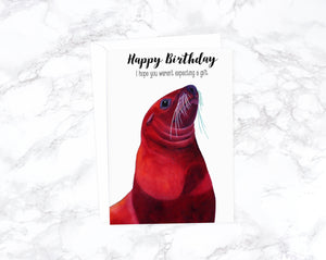 Watercolor Sea Lion Card, Funny Birthday Cards Funny, Rude Birthday Card Boyfriend Birthday, Happy Birthday Card, Birthday Greeting Cards