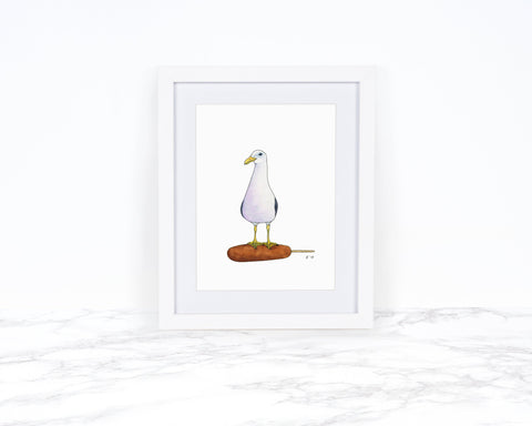 Seagull Print, Whimsical Animal Art Print, Corn Dog Art, Coastal Wall Art, Whimsical Art Print, Kitchen Wall Decor, Watercolor Painting,