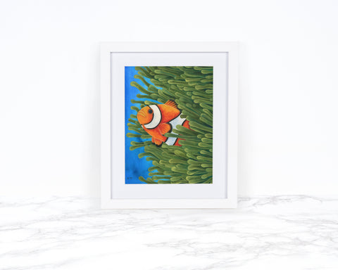 Watercolor Clownfish Painting, Clownfish Art Print, Sea Anemone Art, Whimsical Animal Art Print Watercolor Painting, Coastal Wall Art