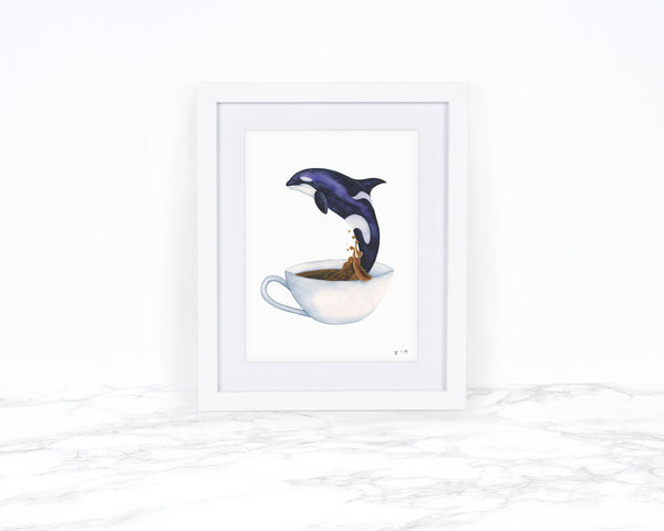 Orca Art Print, Killer Whale Art, Watercolor Whale Print, Tea Art Print, Whimical Animal Art Print Watercolor Painting, Whimsical Art Print