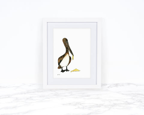 Pelican Art Print, Coastal Wall Art, Whimsical Art Print Watercolor Painting, Whimsical Animal Art Print Funny Art Print, Kitchen Wall Decor