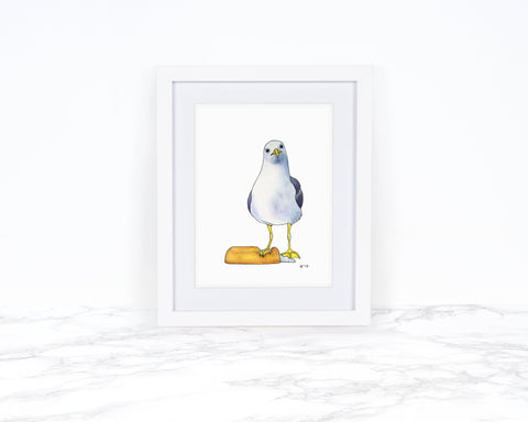 Watercolor Seagull Print, Whimsical Art Print Watercolor Painting, Whimsical Animal Art Print, Coastal Wall Art, Kitchen Art Print