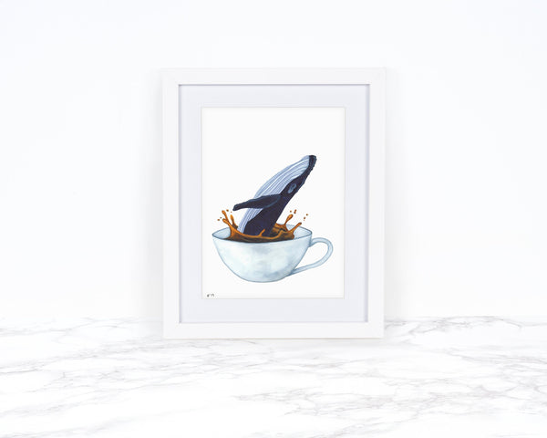 Humpbacked Whale Art, Watercolor Whale Print, Tea Art Print, Whimical Animal Art Print Watercolor Painting, Whimsical Art Print