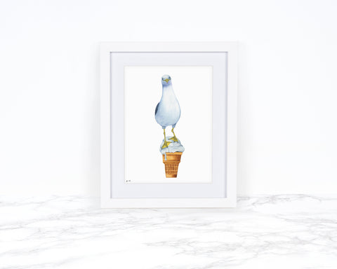 Watercolor Seagull Print, Ice Cream, Whimsical Art Print Watercolor Painting, Whimsical Animal Art Print Coastal Wall Art Kitchen Wall Decor