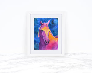 Watercolor Horse Art Print, Horse Wall Art, Whimsical Art Print, Watercolor Horse Painting, Equine Art, Whimsical Animal Art Print