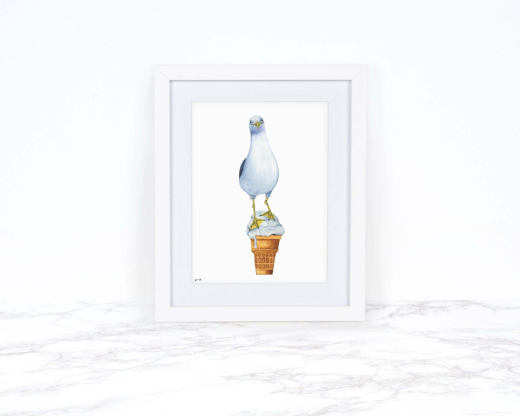 Seagull Painting, Ice Cream Painting, Original Watercolor Painting, Whimsical Art, Whimsical Animal Art, Coastal Wall Art Kitchen Wall Decor