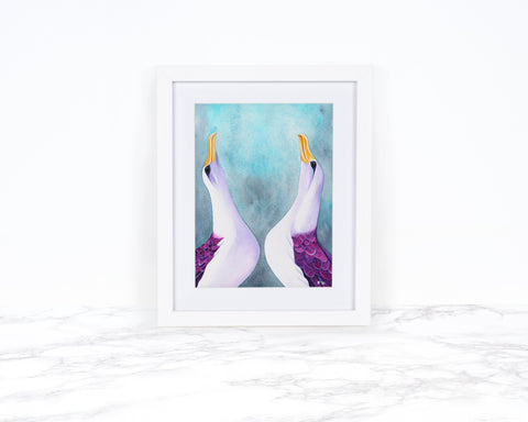 Watercolor Albatross Painting, Coastal Wall Decor, Whimsical Animal Art Print, Watercolor Bird Art Print, Watercolor Wall Art