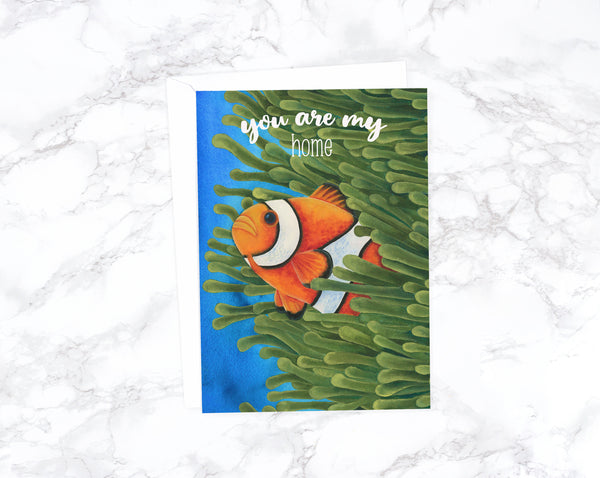 Watercolor Clownfish Anniversary Card, Romantic Card, Love Card For Husband Birthday, Card For Girlfriend, Card For Wife
