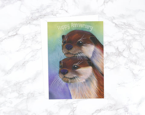 River Otter Anniversary Card, Romantic Card, Love Card For Husband Birthday, Card For Girlfriend, Card For Wife, I Love You Card