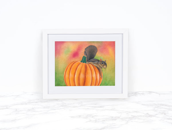 Watercolor Squirrel Painting Pumpkin Decor Fall Decor Kitchen Decor Whimsical Art Print Pumpkin Art Print Watercolor Pumpkin Painting