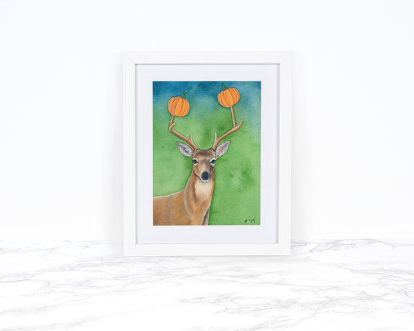 Watercolor Deer Painting, Pumpkin Decor Fall Decor Kitchen Decor  Whimsical Art Print Pumpkin Art Print Watercolor Pumpkin Painting