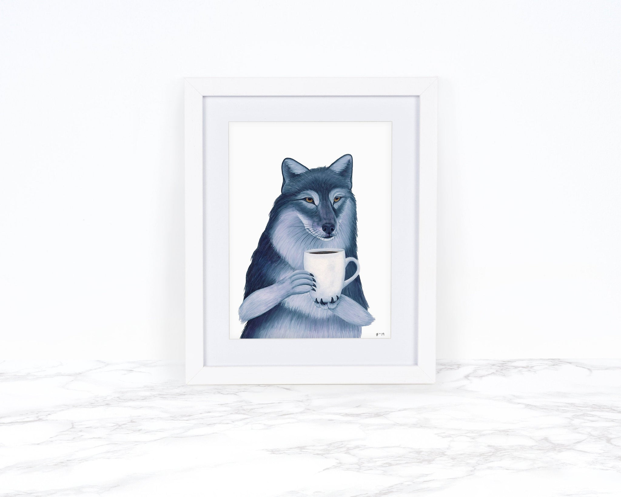 Watercolor Wolf Painting, Wolf Art Print, Coffee Art Print, Kitchen Wall Decor, Whimsical Animal Art Print, Watercolor Painting