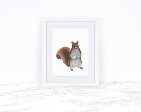 Watercolor Squirrel Painting, Squirrel Art Print, Kitchen Wall Decor, Whimsical Animal Art Print, Watercolor Painting, Woodland Animal Art